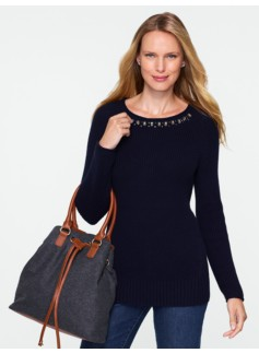 Jeweled Ribbed Sweater