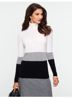 Colorblocked Cashmere Turtleneck