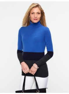 Colorblocked Cashmere Turtleneck