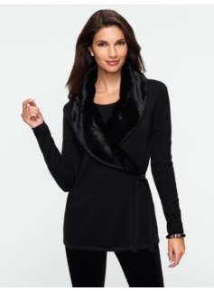 Faux-Fur Collar Wrap Cardigan