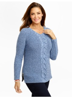 Shaker-Stitch Side-Zip Cable Sweater