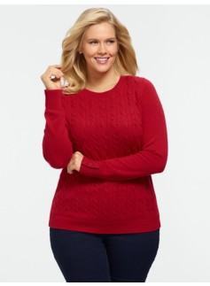 Cable Button-Cuff Sweater