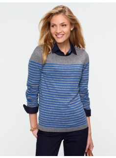 Breton-Stripe Shoulder Button Sweater