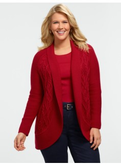 Cable Shawl-Collar Cardigan