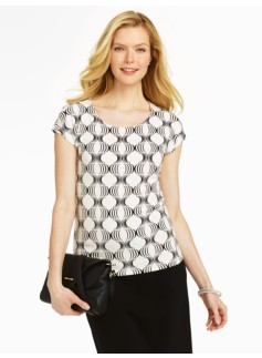 Ornate Column Print Platinum Jersey Square-Neck Top