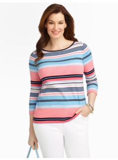 Pima Cotton Bateau Neck Striped Tee