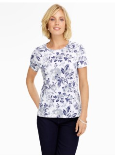 Pima Cotton Flower Toile Crewneck Tee