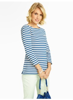 Jackie Stripes Patch-Pocket Tee