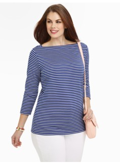 Striped Pima Cotton Boatneck Tee