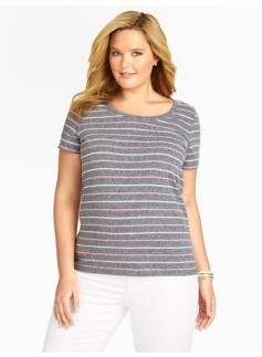 Heathered Stripes Patch-Pocket Tee
