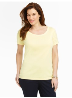 Pima Cotton Braid-Trimmed Cotton Tee