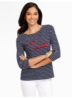 Embroidered Ti Amo Stripe Tee