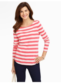Rugby Stripes Shoulder-Button Tee