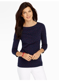 Pima Cotton Polka Dot Bateau Neck Tee