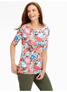 Stretch Weekend Mixed-Flowers Bateau Tee