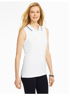 Tipping-Trimmed Sleeveless Pique Polo