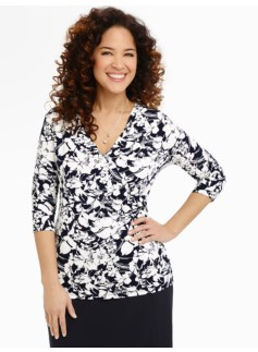 Meadow Flowers Surplice-Wrap Top