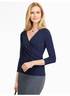 Platinum Jersey Surplice-Wrap Top