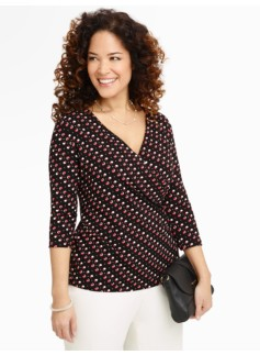 Geo Faux Wrap Top