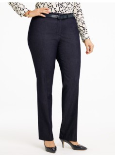 Signature Polished Denim Straight Leg Jeans