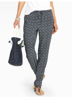 Flower Foulard Relaxed Full-Length Pants
