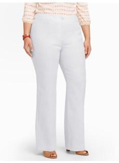 Curvy Refined-Linen White Wide-Leg Pants