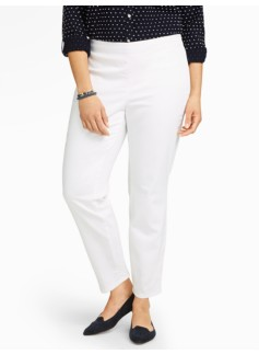 Slimming Signature White Denim Side-Entry Ankle Jeans