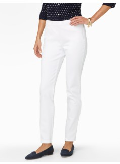 Slimming Heritage White Denim Side-Entry Ankle Jeans
