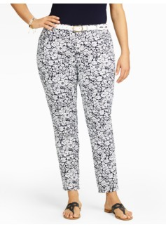 Slimming Heritage Daisy-Print Ankle Pants