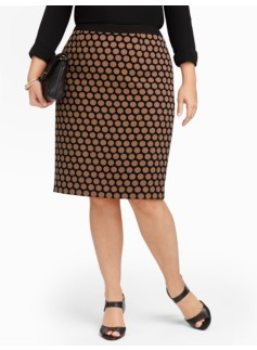 Polka-Dot Knit Pencil Skirt