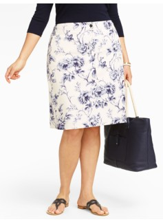 Floral Toile Denim A-Line Skirt
