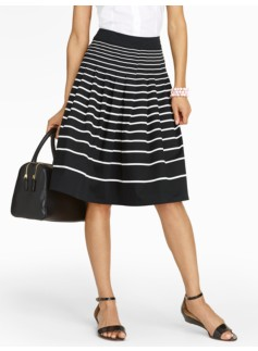 Stripe Pleated Full Skirt
