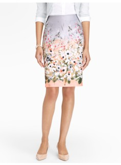 Hummingbirds & Flowers Pencil Skirt