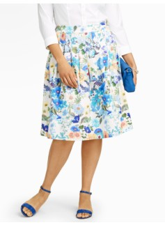 Flower Bouquet Pleated Skirt