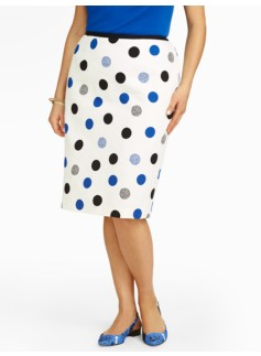 Dotted Dots Jacquard Pencil Skirt