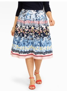 Botanical Print Sateen Skirt
