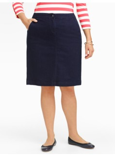 Midnight Wash Denim A-Line Pencil Skirt