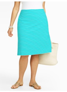 Striped Ottoman-Knit A-Line Skirt