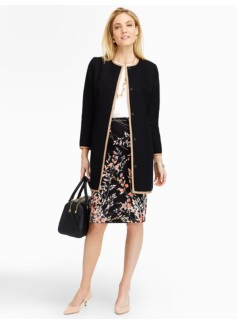 Long Twill-Woven Contrast Trim Jacket