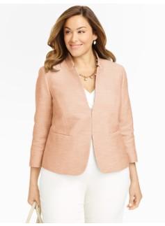 Sparkle Tweed Stand-Collar Jacket