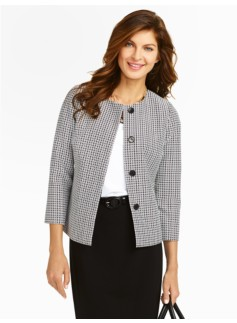 Geo-Tile Jewel-Neck Jacket