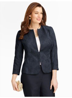 Peony Matelass� Jewel-Neck Jacket