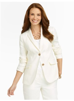 European Linen  Off-White Two-Button Jacket