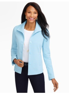 Striped Ottoman-Knit Jacket