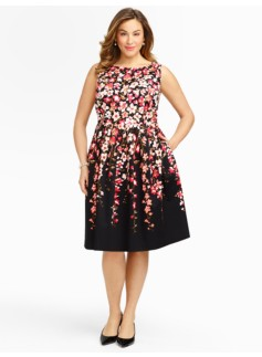 Gladiola-Print Sateen Dress