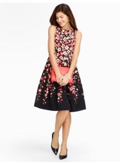 Gladiola-Print Sateen Dress