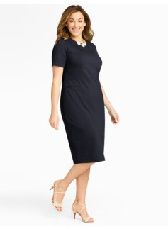 Ponte Short-Sleeve Dress