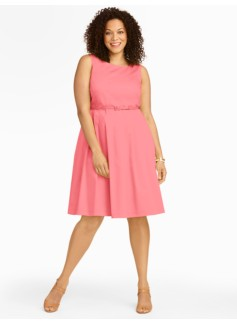 Cotton Sateen Fit-And-Flare Dress