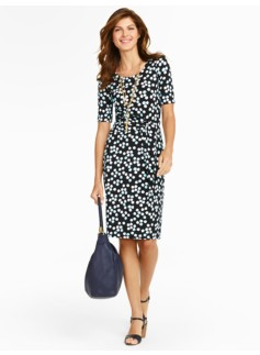 Dotty Floral Faux-Wrap Knit Dress