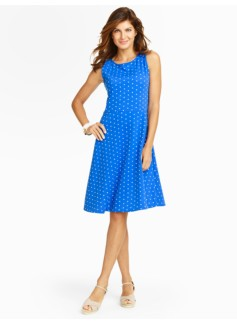 Edie Polka-Dots Fit-And-Flare Knit Dress